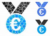 Euro Prize Medal Mosaic Of Round Dots In Variable Sizes And Color Tinges, Based On Euro Prize Medal  poster