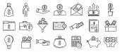 Investor Finance Icons Set. Outline Set Of Investor Finance Vector Icons For Web Design Isolated On  poster