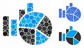 Charts Composition Of Small Circles In Various Sizes And Color Tinges, Based On Charts Icon. Vector  poster