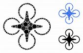 Nanocopter Composition Of Spheric Dots In Variable Sizes And Color Tones, Based On Nanocopter Icon.  poster
