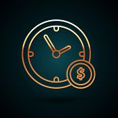 Gold Line Time Is Money Icon Isolated On Dark Blue Background. Money Is Time. Effective Time Managem poster