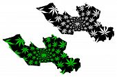Long An Province (socialist Republic Of Vietnam, Subdivisions Of Vietnam) Map Is Designed Cannabis L poster