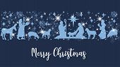 Birth Of Christ Scene Horizontal Banner. Merry Christmas Card With Nightly Christmas Cribe With Mary poster
