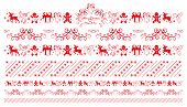 Christmas Ornaments. Winter Holiday Repeating Border, Seamless Pattern. Christmas Greeting Ornament  poster