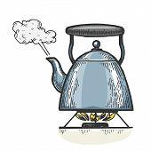 Boiling Kettle Teapot Engraving Vector Illustration. T-shirt Apparel Print Design. Scratch Board Sty poster