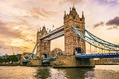 Tower Bridge In London, The Uk. Tower Bridge Sunset Dusk. London Beautiful Wallpaper. Photo Stock poster
