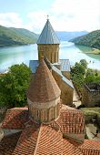 Two Historic Churches On The Aragvi River Bank Inside Ananuri Fortification, Historical Place In Geo poster
