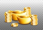 Chinese Ingots And Stacks Of Golden Coins Isolated On Transparent Background poster