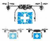 Ambulance Drone Composition Of Bumpy Parts In Different Sizes And Color Tints, Based On Ambulance Dr poster