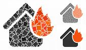 Home Fire Disaster Mosaic Of Humpy Elements In Different Sizes And Color Tinges, Based On Home Fire  poster