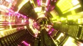 Flying Into Spaceship Tunnel, Sci-fi Spaceship Corridor. Futuristic Technology Abstract Seamless Vj  poster