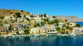 View On Greek Sea Symi Island Harbor Port, Classical Ship Yachts, Houses On Island Hills, Tourists A poster