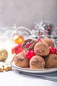 Christmas Cakes. Christmas Sweet Candies On The Dessert Table . Balls Of Biscuit With Cherry - Loli  poster