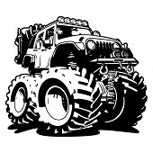 4x4 Off Road Black And White Cartoon Isolated Vector Illustration poster