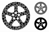 Wheel Cover Mosaic Of Rough Pieces In Different Sizes And Shades, Based On Wheel Cover Icon. Vector  poster