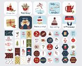 Set Of  Holiday Stickers For Planners And To Do Lists With Cute Christmas Illustrations And Hand Dra poster