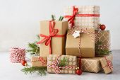 Christmas Background With Big Heap Of Gift Boxes And Decoration. poster