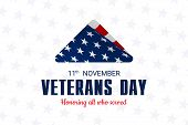Happy And Free Veterans Day November 11th. Folded American Flag, United State Of America, U.s.a Vete poster
