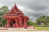 Red Temple Wat Sila Ngu, Wat Ratchathammaram On Koh Samui Island In Thailand. poster