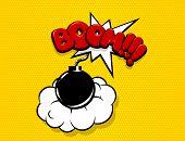 Boom Bomb Comic Text Speech Bubble Pop Art. Cartoon Halftone Vector Background. Retro Comic Book Fon poster