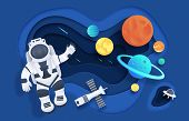 Paper Cut Space. Cartoon Cosmonaut In Open Space With Stars Rocket Spaceship Planets And Clouds. Vec poster