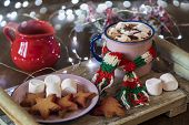 Winter Hot Drink Cocoa, Hot Chocolate And Marshmallows, Homemade Cookies On A Wooden Tray. Christmas poster