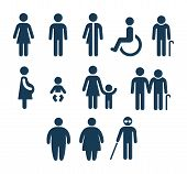 People Figures Icon Set. Bathroom Gender Signs And Health Conditions Symbols. Adults And Child Care, poster