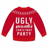 Vector Cute Card Of Knitted Pullover With Ugly Sweater Christmas Party Lettering Isolated On White B poster