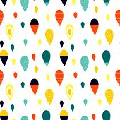 Seamless Abstract Pattern With Drop Shapes. Blue, Orange, Red, Yellow Colors. Avan-garde Cute Cartoo poster