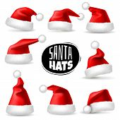 Santa Claus Hats. 3d Realistic Red Christmas Holiday Caps, Plush Cute Winter Headwear. Celebration C poster