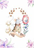 Cute Watercolor Mouses Birthday Greeting Cards, Posters For Baby Room, Baby Shower, Invite, Kids And poster
