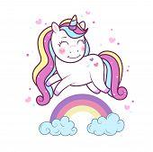 Kawaii Unicorn Running On Rainbow. Kawaii Unicorn In Hand Drawn Style. Illustration Of Little Adorab poster