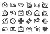Mail Message Icons. Newsletter, Email Document, Correspondence Icons. Received Mail, Secure Message  poster
