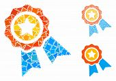 Award Badge Composition Of Uneven Elements In Various Sizes And Color Tinges, Based On Award Badge I poster