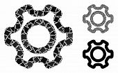 Cog Composition Of Joggly Items In Various Sizes And Color Tints, Based On Cog Icon. Vector Joggly I poster