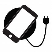 Wireless Charging For Smartphone Icon On White Background. Flat Style. Wireless Charging Symbol. Wir poster