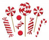 Christmas Candy Lollipops. Xmas Holiday Candies Isolated On Background, Colorful Lollipop Set For Ki poster