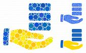 Data Provider Hand Mosaic Of Circle Elements In Different Sizes And Color Tones, Based On Data Provi poster