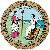 Coat Of Arms Of North Carolina Is A State Located In The Southeastern Region Of The United States. V poster