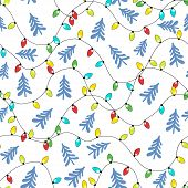 Christmas-tree Multicolored Garlands And Blue Christmas Trees On A White Background. Festive Seamles poster