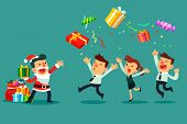 Business Manager In Santa Claus Costume With Bag Full Of Gift Boxes Throwing Gift Boxes To His Busin poster