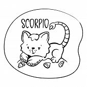 Scorpio Astrological Zodiac Sign With Cute Cat Character. Scorpio Vector Illustration On White Backg poster