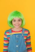 Hairstyle To Update Your Look. Cute Little Girl Smile With Fancy Hairstyle. Funny Kid With Red Synth poster