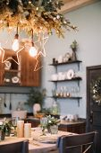 Festive Kitchen In Christmas Decorations. Christmas Living Room Or Dining Room. Beautiful New Year D poster