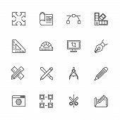 Blueprint, Engineering Outline Icons Set - Black Symbol On White Background. Blueprint, Engineering  poster