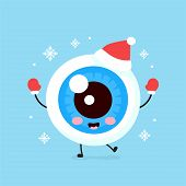 Cute Smiling Happy Eyeball Organ In Christmas Hat And Gloves. Vector Flat Cartoon Character Illustra poster
