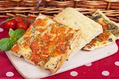 picture of nic  - Slices of Typical italian focaccia bread like pizza - JPG