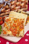 foto of nic  - Slices of Typical italian focaccia bread like pizza - JPG