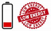 Vector Low Battery Level Icon And Rubber Round Stamp Seal With Low Energy Phrase. Flat Low Battery L poster