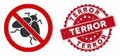 Vector No Fly Insect Icon And Rubber Round Stamp Seal With Terror Text. Flat No Fly Insect Icon Is I poster
